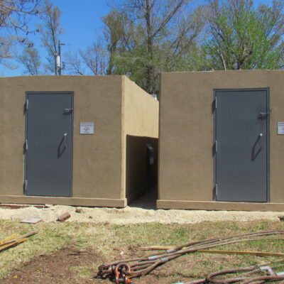 Deliverable storm shelters can be custom-built for residential or large group above ground shelter needs.